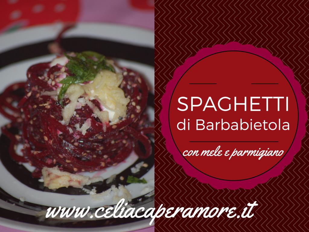 spaghetti party: spaghetti di barbabietola con mele e parmigiano