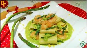 Paccheri Asparagi e Gamberetti di Il Bello del Fornello